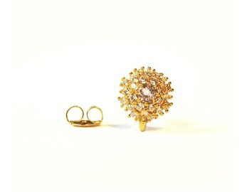 SALE Gold Vermeil Earring Posts 2 pcs/ 1 pair 9mm with Clutch CZ Cubic Zirconia Encrusted