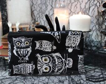 Dark Owls Zipper Pouch. Black Duck Canvas. Spooky Pencil Pouch. Halloween Clutch. Coin Purse. Dark Makeup Bag. Travel. Slim, Lightweight.