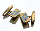 Etched Pattern Gold Coloured & Turquoise Vintage Cuff Links (c1930s)