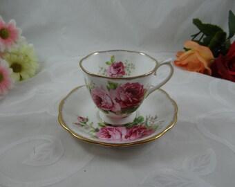 """1940s Royal Albert English Bone China """"American Beauty""""  Teacup and Saucer - Stunning English Teacup"""