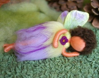Sleeping fairy, doll - felted, waldorf inspired, by Naturechild
