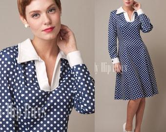 Vintage 60s Dress, Vintage Blue Dress, Vintage Polka Dot dress, Mad Men Dress, Blue Polka Dot dress - XL/1XL