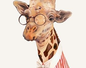 Giraffe Art print, Giraffe Illustration, Animals in Clothes, Giraffe Poster, Kids room Poster