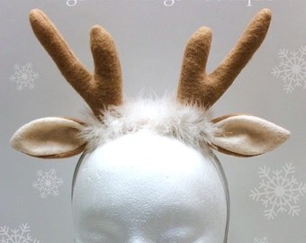 REINDEER ANTLER HEADBAND, Christmas Costume Accesssory, gift, xmas, fawn, doe, buck, photo prop, favor, toddler, adult, kids, child
