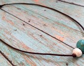 SALE Freshwater Pearl and Turquoise Leather Necklace