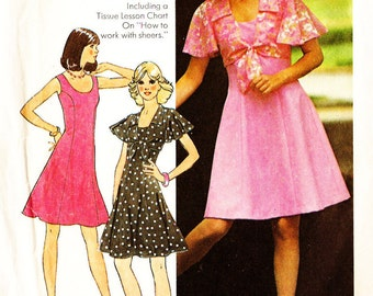 Simplicity 6798 Retro 1970s Dress and Shortie Jacket Sewing Pattern Sz 16