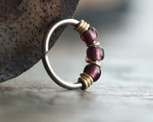 Royal, Purple Boho Nose Ring Hoop - For Nose, Helix, Tragus and Lobe Piercings - Sold Individually, You Choose the Diameter