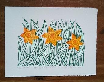 Spring Daffodils Limited Edition Lino Print