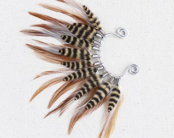 Natural Woodland Mohawk Feather Ear Wrap / Cuff in Silver
