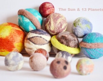 The Sun & 13 Planets. Dwarf Planets of our Solar System. Wool toy set. Learn and discover space. Bright and Interesting art toys.wooly topic