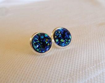 Blue Druzy Stud Earrrings, Faux Druzy Studs, Blue Druzy Studs, Midnight Blue Studs, Sparkle Blue Studs, Druzy Jewelry, Druzy Earrings