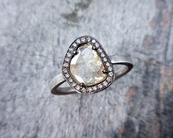 Diamond Slice Engagement Ring - Modern Diamond Ring, Rustic diamond Ring,  Diamond Slice Halo Ring, Flat Diamond Engagement Ring