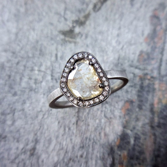 Rustic Diamond: Diamond Slice Engagement Ring Modern Diamond Ring Rustic