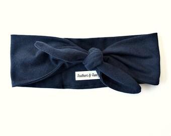 Retro Tie Up Headband, Navy Jersey Top Knot Headband Adult, Women's Headband Hair Accessories