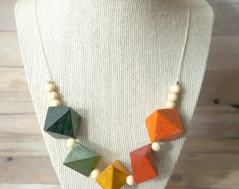 Colorful Wooden Block Necklace
