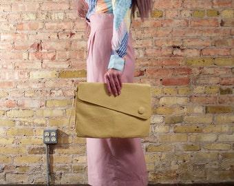 hotline 80s vinyl clutch / oversized clutch / large wristlet bag / buttercup / yellow clutch / pastel clutch / asymmetrical clutch / vegan