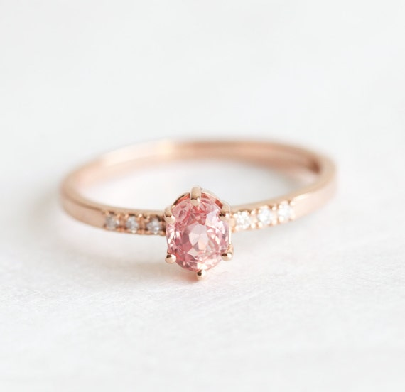 Rose Gold Sapphire Engagement Ring Simple Engagement Ring