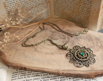 Steampunk Flower Necklace - Steampunk jewelry, steampunk clothing, mechanical, steampunk terrarium, steampunk, fantasy necklace, mandala