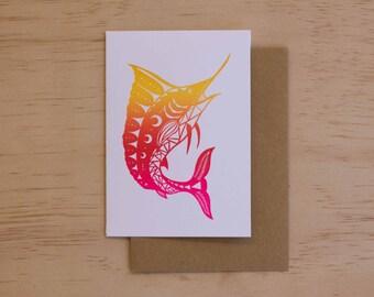 Sailfish - Papercut Marine Animal Letterpress Card