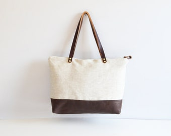 Linen and leather tote bag / Classic minimalist tote bag / Large size tote bag / Leather tote / Organic cotton oatmeal linen and leather bag