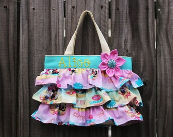 NEW Disney Surf's Up Daisy Minnie Mouse Birthday Ruffled Canvas Tote Bag, Little Girl Purse, Diaper Bag, Canvas Diaper Bag