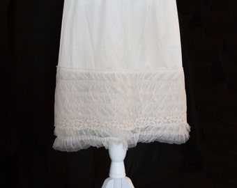 Off White Tulle Ruffle & Flower Lace Skirt/Dress Extender, Slip Lengthener