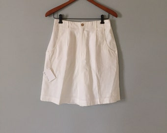 linen mini shorts | snow white linen high waisted linen shorts