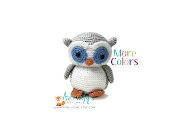 Crochet Owl- Custom Colors- Stuffed Owl- Owl Plush- Woodland Animals- Forest Animals- Handmade Owl- Crochet Toy- Amigurumi- Made to Order