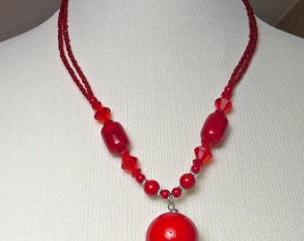 Vintage Cherry Red Resin Beaded Statement Necklace