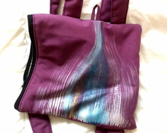 Unique handy purple backpack cushion handmade