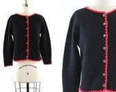 vintage 1960s 1970s black cardigan / button front sweater / black & red cardigan XS/S