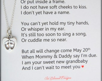 Pregnancy Announcement, Grandma to be Gift, New baby reveal, Grandma necklace, we are expecting, New baby