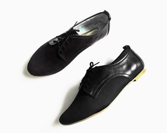 Black Oxford Shoes - Leather and cotton canvas  - Women Brogues - Mina Shoes Mexico