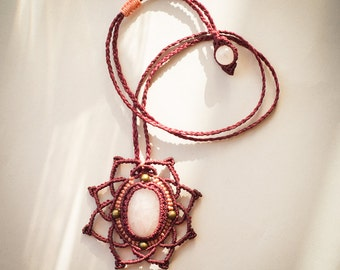 Macrame necklace, mandala macrame necklace, flower macrame necklace, pink quartz macrame necklace, mandala micro macrame necklace
