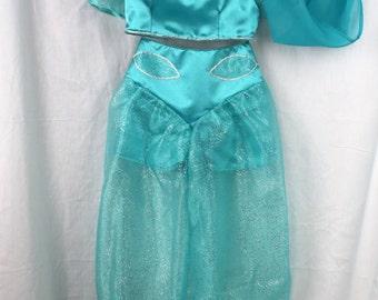 Size 7/8, 3 Piece Teal Genie Costume