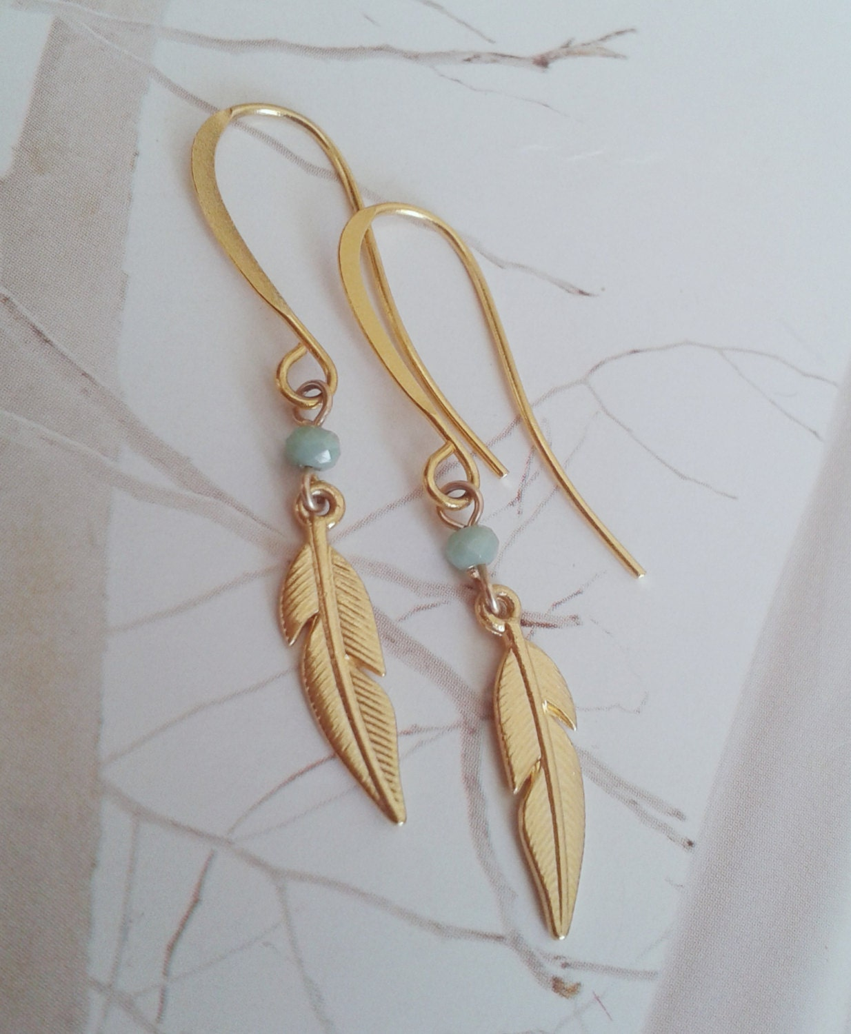 how to make feather dangle earrings