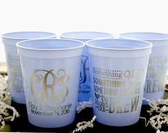 Custom Wedding Cup, Personalized Cups, Stadium Cups, Monogrammed Cups, Plastic Cups, Party Cups, Wedding Favors,
