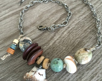 Sleepy Woodland Critter Necklace - Owl