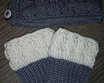 Knit look cable headwarmer with reversible bootcuffs set
