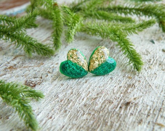 Gold earrings green earrings emerald earrings st patricks day christmas earrings holiday green studs good luck gift irish jewelry leprechaun