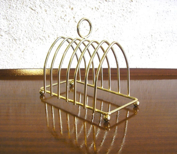 Toast rack atomic mid century gold toned letter rack 1960s for Gold letter rack
