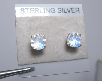 MOONSTONE - Faceted Rainbow Moonstone with Blue Sheen Sterling Silver Stud Earrings! FREE SHIPPING!