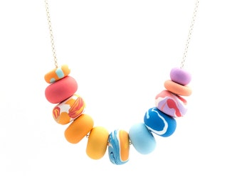 Handmade Polymer Clay Jewelry Necklace: Perfect Palette in Sunny