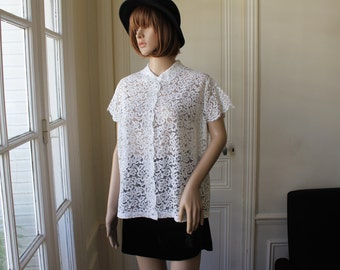 White lace blouse romantic peter pan collar handmade full lace blouse vintage blouse lace collar - Size L