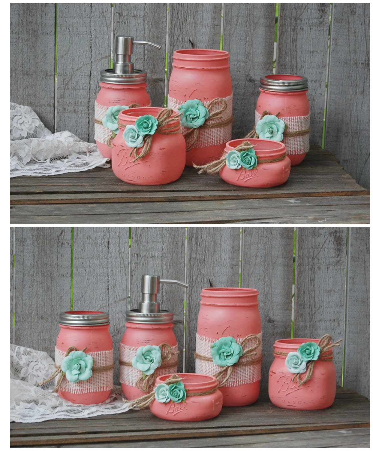 Mason jar bathroom set coral mint green by thevintageartistry for Bathroom decor light green