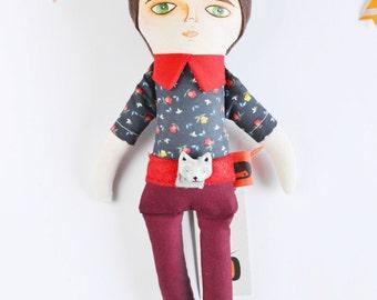 SALE Boy, Cloth Doll, rag doll, brown hair, green eyes, stuffed toy, nursery decor