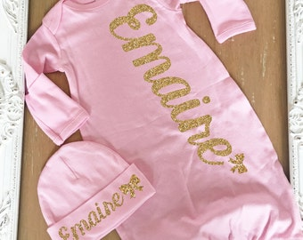 Personalized Newborn Baby Gown Glitter Curly with Pink Hat option Birth Announcement Bodysuit by Simply Chic Baby Boutique