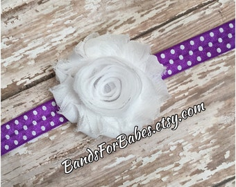 SALE White & Purple Shabby Chic Polka Dot Elastic Headband, Baby Headband, Toddler Headband, Girls Headband, Adult Headband, Hair Bow