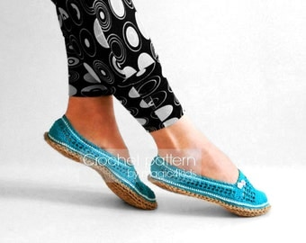 Crochet pattern: espadrilles with jute rope soles,soles pattern included,women sizes,shoes,slippers,ballerina,adult,girl,women,cord,twine