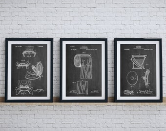 Bathroom Art Patent Posters Group of 3, Bathroom Wall Decor, Toilet Seat,  Toilet Art, PP1146